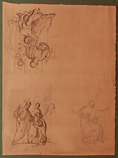 DISEGNO BOZZETTO DRAWING 1800 CHINA SU CARTONCINO FIGURE SACRE