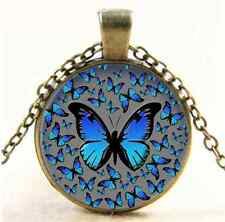 Vintage Blue Butterflies Photo Cabochon Glass Bronze Pendant  Necklace
