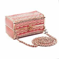 CHANEL BOX BAG 2006 PINK CRYSTAL LEATHER TWEED CHAIN GOLD CC MINAUDIERE HANDBAG