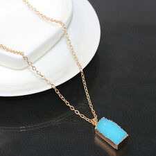 Natural Crystal Mint Quartz Stone Gemstone Necklace Resin Faux Pendant Jewelry