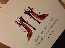 Personalised Handmade Shoes Birthday Card - Friend, Sister, Niece, Mum, Daughter