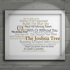 U2 The Joshua Tree Signed Numbered Typography Wall Art Print Song Lyrics Poster