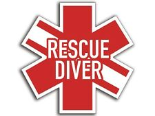 4x4 inch RESCUE DIVER Star of Life Shaped Sticker -decal logo diving dive scuba