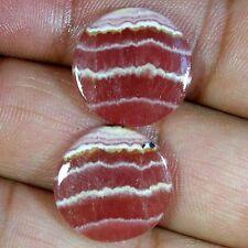 34.00Cts.  Rare Designer Natural Rhodochrosite Round Cab Matched Pair Gemstones