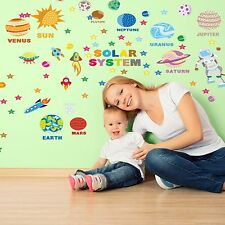 System Adventure Nursery Wall Stickers Mural Educational Solar 125cm x 125cm