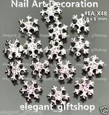 10pcs Christmas Snow Flake Sliver Alloy Jewelry Nail Art Tips Decoration #EA_X48