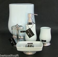 NEW HOTEL BALFOUR 5PC SET AQUA BLUE SOAP DISPENSER+DISH+TUMBLER+TOOTHBRUSH+TRASH