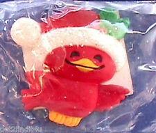 MIP Hallmark MAGNET Christmas CARDINAL Red Bird SANTA HAT Vtg Refrigerator