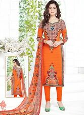 Elegant Orange Crepe Designer Printed Unstitched Dress Material Suit D.No VM1755