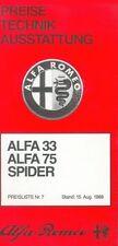 Alfa Romeo Preisliste 15.8.83 33 Alfasud TI Sprint GTV 1983 price list Auto PKWs