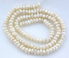 "Two VINTAGE Japan Japanese 5mm x 3mm Freshwater Biwa Button Pearl 15""  Strand"