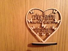 wooden heart  mdf plaqe A DAUGHTER  IS A MATHERS TREASURE mdf heart with stand