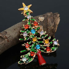 Brooch Enamel Gorgeous Rhinestone Crystal Christmas Tree Pin Party Gift GC