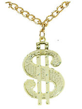 New 70's Gangster Disco Gold Dollar Necklace Chain Pendant Medallion Fancy Dress