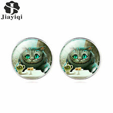 Cute Cat Glass Cabochon Stud Earrings Vintage Fashion Silver Jewelry for Women
