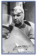 JUAN MIGUEL FANGIO, LARGE AUTOGRAPHED PHOTO PRINT. GREAT GIFT OR COLLECTABLE.