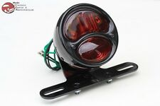 Custom Deluxe Black Motorcycle Rear Fender Tail Light Lamp Stop Lens Ford Style