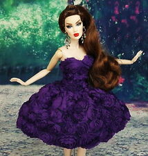 Purple Flower Cocktail Evening Dress Outfit Silkstone Barbie Fashion Royalty FR
