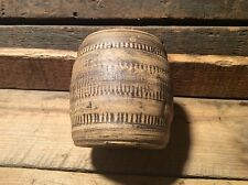 Barrel Shaped Pottery Piece, Glazed Inside , Unsigned Pen / Pencil Holder