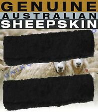 Sheepskin Seat Belt Covers Pair Shoulder Pads 2 Black Soft Fleece Sheep