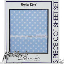 Bubba Blue POLKA DOTS Premium Cotton 3 Piece Cot Sheet Set - Blue