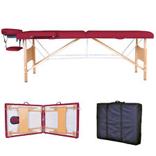 New Burgundy Portable Massage Table w/Free Carry Case T1 Chair Bed Spa Faci