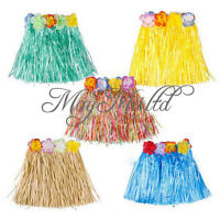 Children Hawaiian Grass Luau Skirt Flowers Weddings Party Beach Costume Hot O