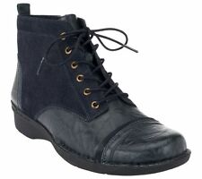 Clarks Adj. Lace-up Boots Full Inside Zipper Whistle Watch Navy 10M NEW A257389