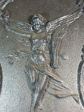 RARE ANTIQUE CAST IRON FIGURAL ANGEL FIREPLACE SUMMER COVER INSERT