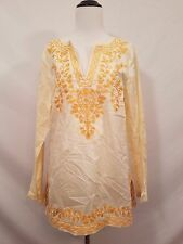NWT Women's Michael Michael Kors Embroidered Yellow Tunic Size Medium M
