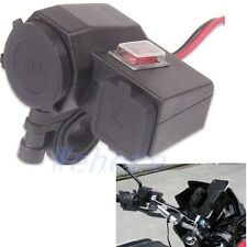New Motorcycle Waterproof 2.1A Cigarette Lighter Dual USB Power Socket Charger