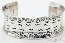 Vintage Native Indian Sterling Silver Pawn Pamunkey Tribe Concave Cuff Bracelet