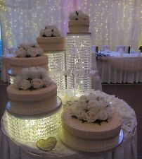 Wedding Cake stands 5 tiers Flowers Crystal Chandelier Waterfall Party