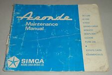 Manuel Owner 's Manual simca aronde, stand 1966