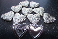UK Wholesale Jewellery 10 x Silver Filigree Heart Locket Necklace Pendants