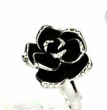 Vintage Art Deco style black rose lotus flower prom cocktail ring