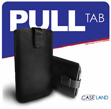 L-BLACK SLEEVE PULL UP TAB SOFT LEATHER POUCH COVER FOR THL W8 (ALL MODELS)