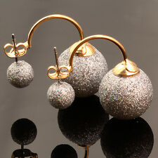 Fashion Jewelry Scrub Silver Shining Ball Double Sided Front Back Earring