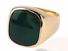 Art Deco Herren Siegel Solitär 585 Gelb Gold Grün Achat Ring 11,5 g