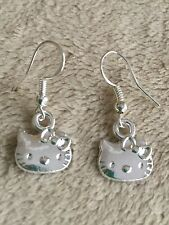 Sterling Silver Ear Wire w/Tibetan Silver Hello Kitty Charm Dangle Drop Earrings