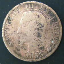 1853-D-France-10-Centimes- -Napoleon-III--French-Bronze-Coin