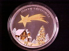Rare 2010 Palau Large Color Silver  $5 Merry Christmas/Star-Nice Gift Box