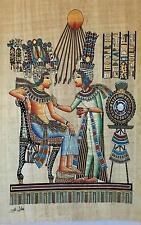 New Hand Painted Egyptian Art on Papyrus: Tutankhamun and Ankhesenamun A31