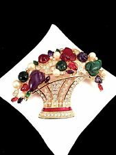 NOLAN MILLER GOLD-TONE FRUIT SALAD FLOWER BASKET FAUX PEARL RHINESTONE BROOCH