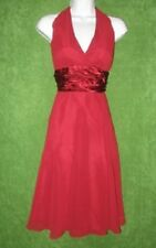 Scarlett Deep Red Wine Satin Chiffon Padded Halter Social Dress  6 $89