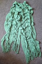 Knit Green Winter Wooly Scarf warm Tassels New
