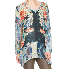 $240 NWT Johnny Was Bekka 100% silk BOHO Tunic Blouse Top L XL Blue Floral