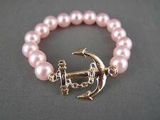 Pink plastic faux pearl Anchor Boat Nautica Boating pendant bracelet size small