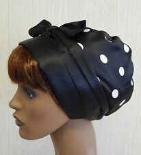 Silky satin women's head scarf, black dotted head wrap, curly hair bonnet cap