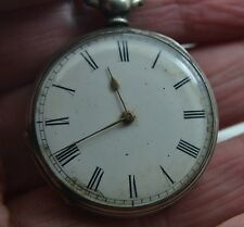 antique  33 mm wide solid silver pocket watch enamel dial crack free for repairs